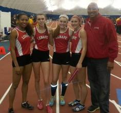 Lenape's record-setting sprint med team with coach Gerald Richardson.